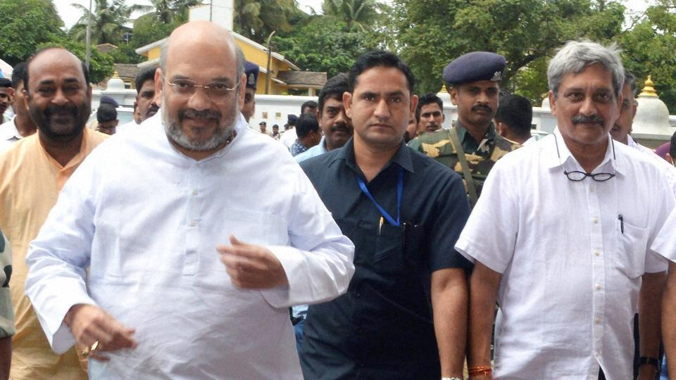 BJP national president Amit Shah along with defence minister Manohar Parrikar  in Panjim in Goa.