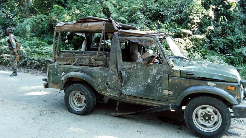 The army vehicle which was part of a convoy ambushed on the Pengeri-Digboi road near the Pengeri reserve forest in Assam's Tinsukia district by suspected ULFA (I) and NSCN (K) militants in November,  2016.