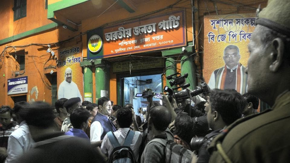 BJP office in Kolkata was allegedly attacked by the TMC workers in Kolkata.