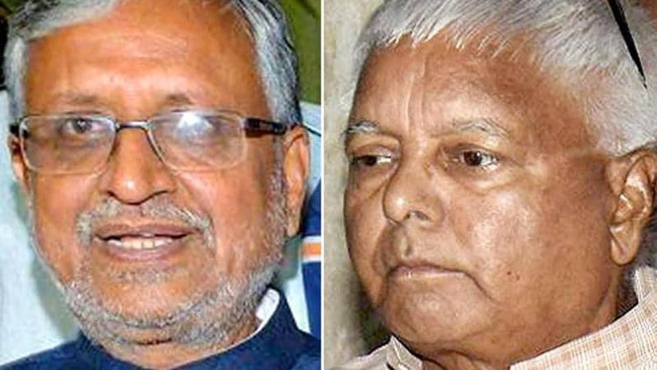 Combination photo of Lalu Prasad Yadav and BJP leader Sushil Kumar Modi.