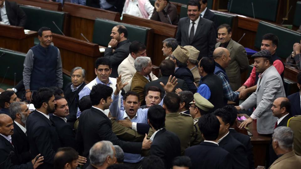 National Conference and Congress MLAs protesting in J&K assembly against the deaths in Kashmir.