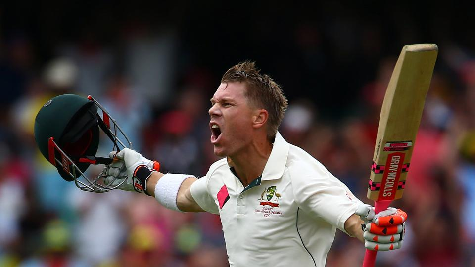 David Warner blasted a century off 78 balls and became the first batsman to score a century before lunch on the first day in Australia.
