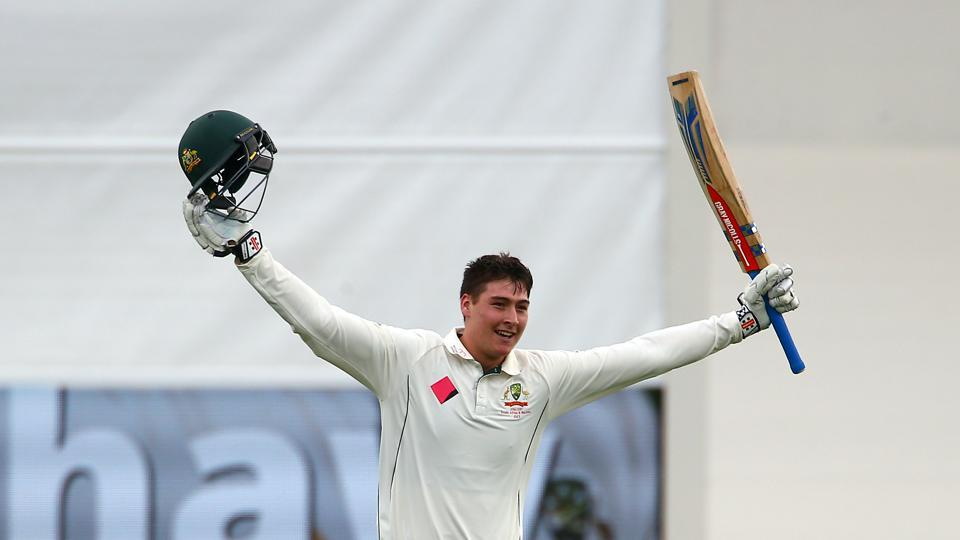 Renshaw, 20 years and 281 days, notched up his maiden century and he became the seventh-youngest Australian batsman to score a century  (REUTERS)