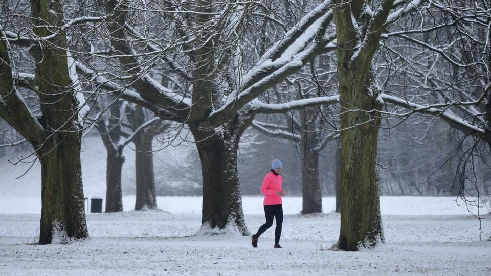 A runner jogs on a snow-covered path in the city park in Cologne, western Germany. (AP)