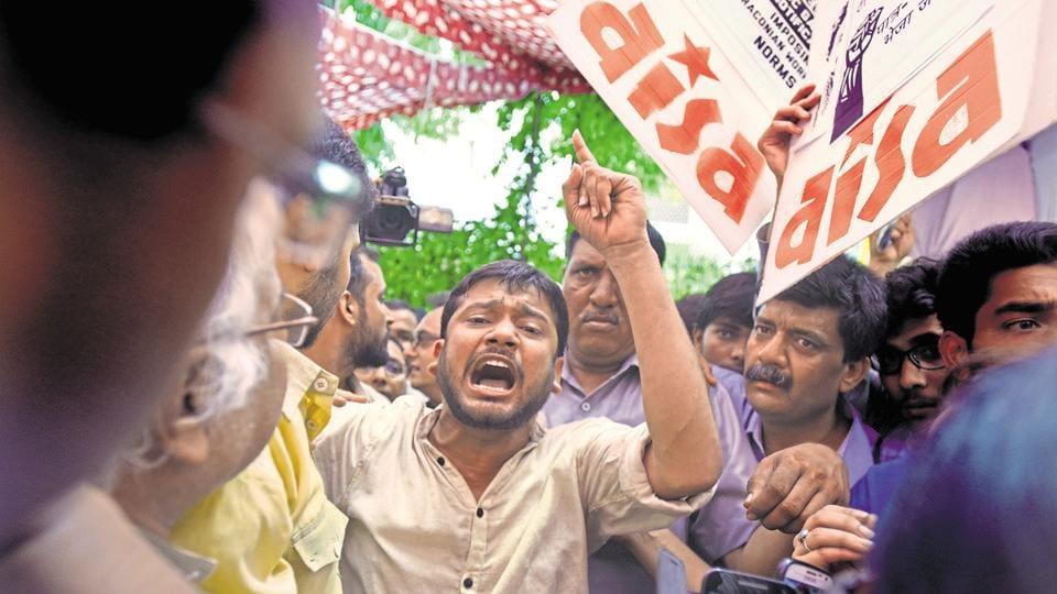 Kanhaiya Kumar, former president of Jawaharlal Nehru University Students' Union, during a protest in New Delhi in June last year.