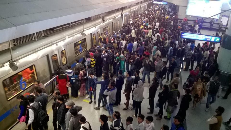 New Delhi, India - Jan. 1, 2016: Long queue seen at Rajiv Cowk Metro Station as the Odd and Even System has Prevailed in New Delhi, India, on Friday, January 1, 2016. (Photo by Sanchit Khanna/ Hindustan Times)