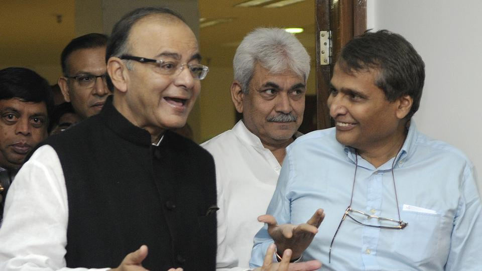 Minister of railways Suresh Prabhakar Prabhu talking with finance minister Arun Jaitley. The Union budget and the railway budget for the fiscal 2017-18 will be tabled in the Parliament together, breaking a century-old tradition.