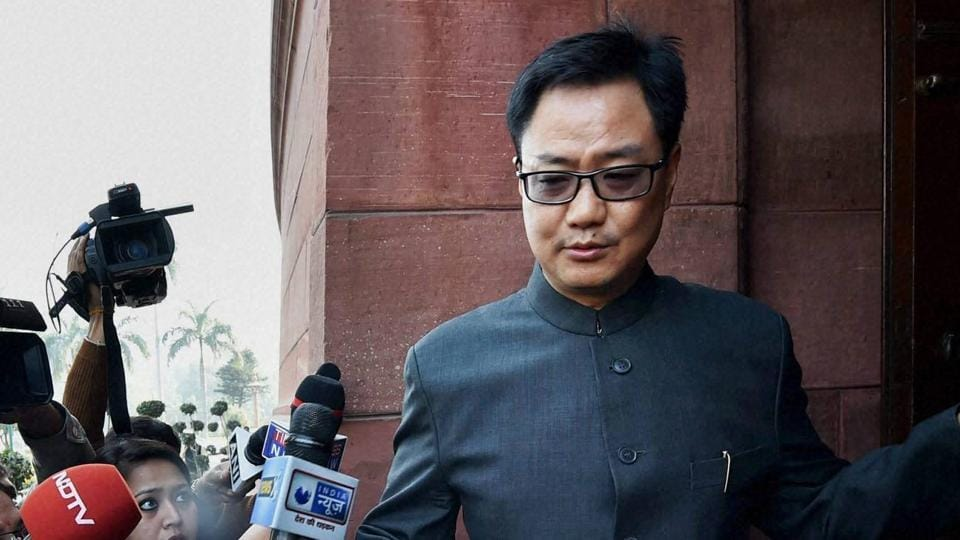 MoS for Home Kiren Rijiju at Parliament House during the winter session.