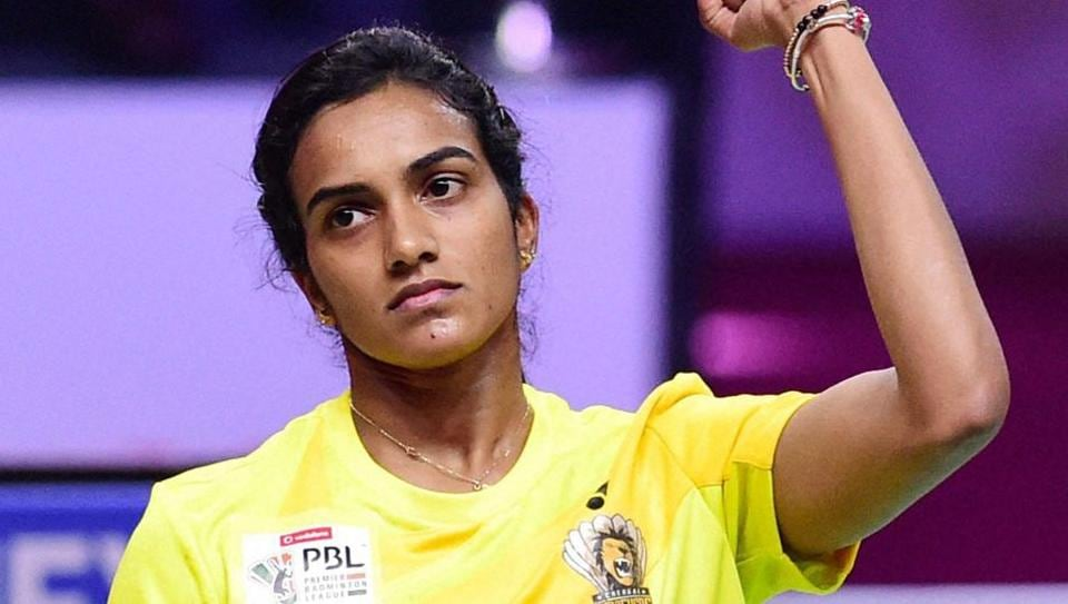 Chennai Smashers' PV Sindhu celebrates her win over Bengaluru Blasters player Cheung Ngan Yi during the women's singles of Premier Badminton League (PBL).