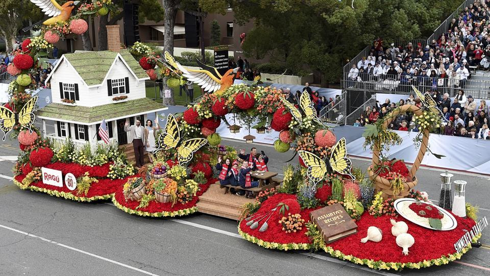 'Simmered in Tradition' -- the RAGU float and winner of the National Trophy for best depiction of past, present or future life in the United States, travels down Colorado Boulevard during the 128th Rose Parade. (AP Photo)