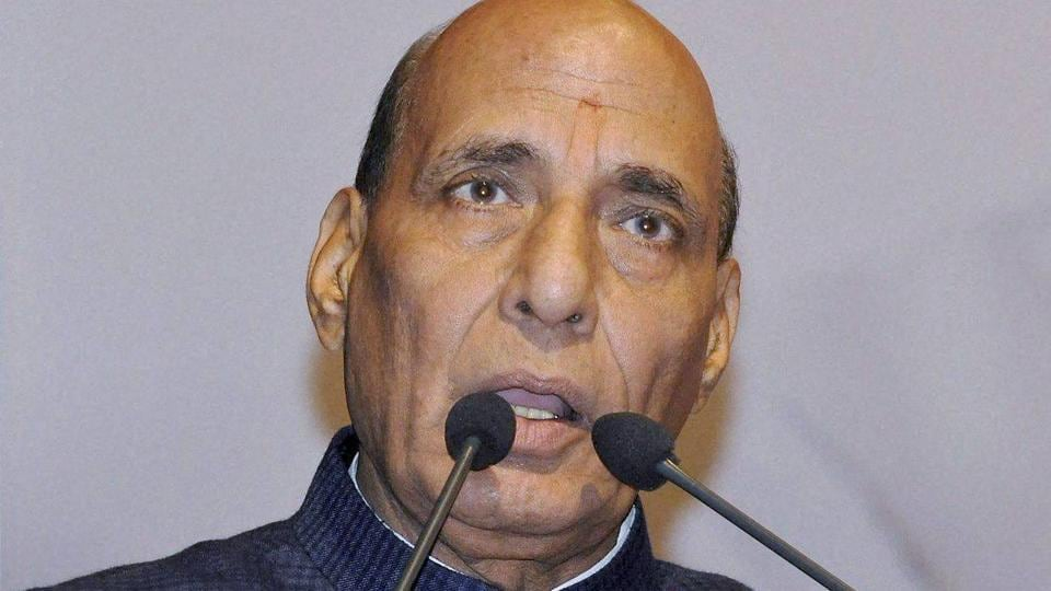 Home minister Rajnath Singh addresses a BJP meeting in Guwahati.