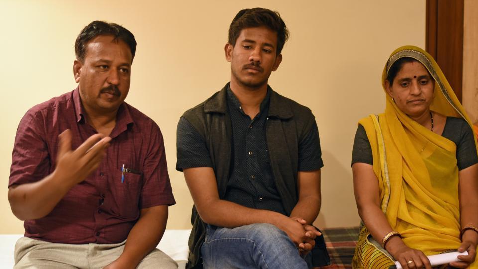 (From left) Ramji's brother Shivnarayan, elder son Devavrat and wife Laxmibai in Mumbai.