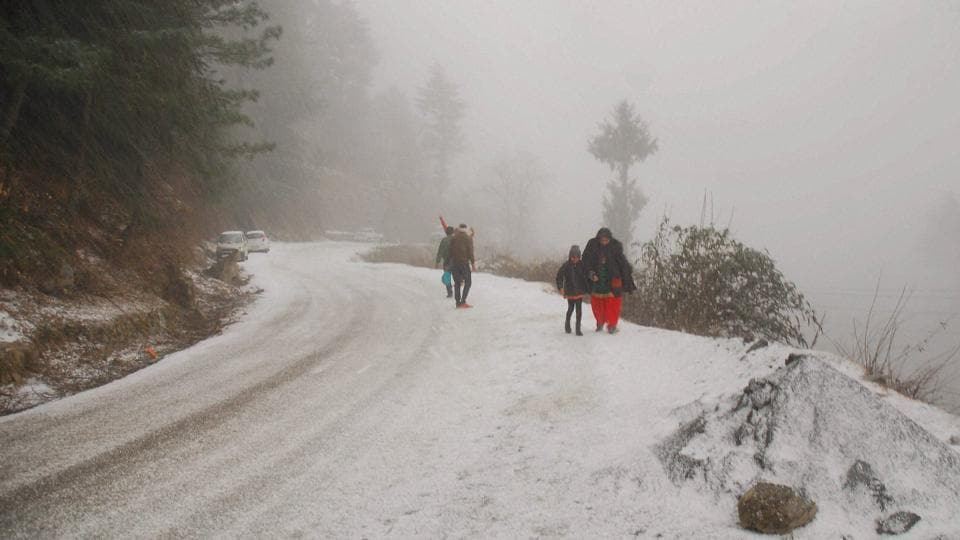 A road Kufri, near Shimla. While the hill station experienced a warm December, the New  Year brought with it, fresh snowfall and dipping temperatures.  (PTI)
