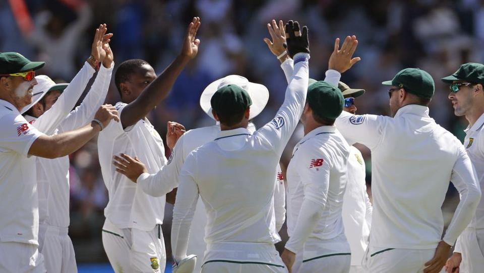 South Africa's team celebrate after taking the wicket of Sri Lanka Angelo Mathews, during the 2nd Test cricket match between South Africa and Sri Lanka, in Cape Town.
