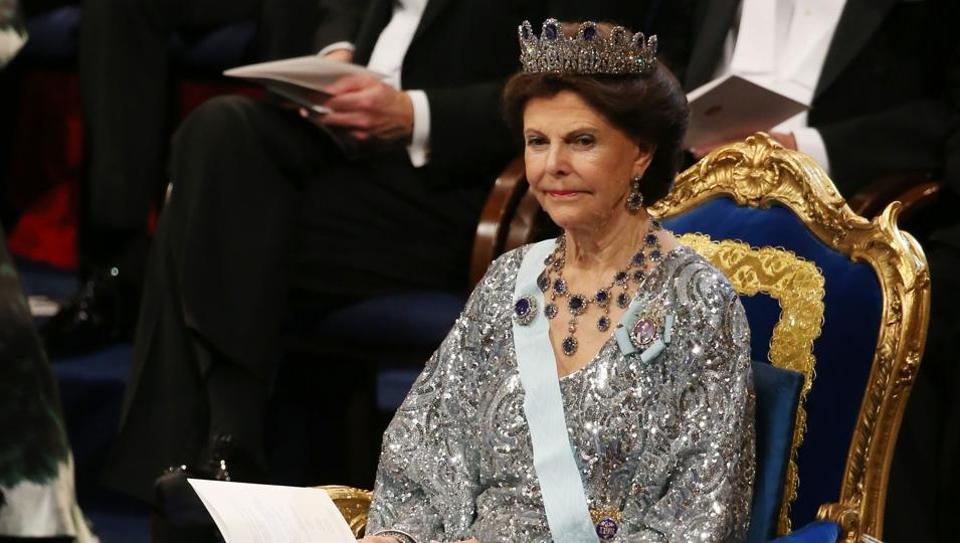 Queen Silvia of Sweden attends a ceremony in Stockholm, Sweden.
