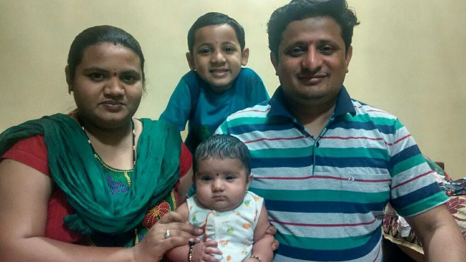 The Patil family with Swarali, who was born in November last year.