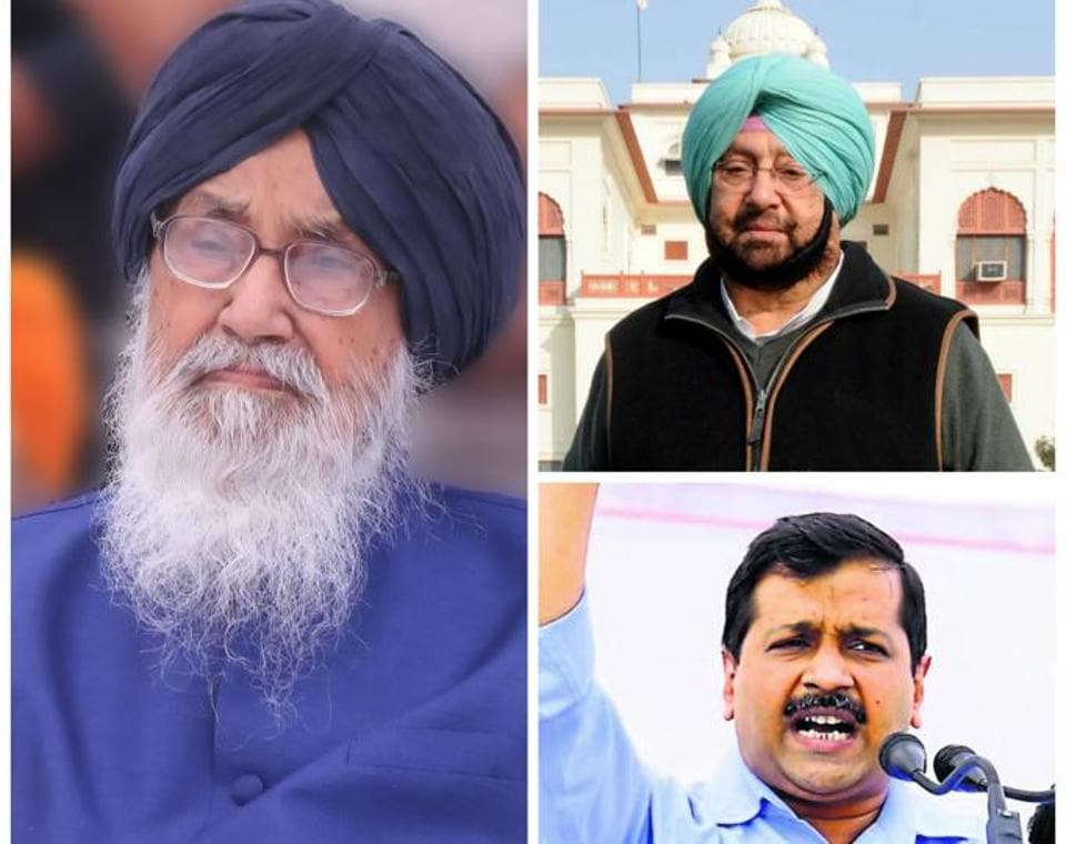 (clockwise from above) Punjab chief minister Parkash Singh Bada; Punjab Congress chief Captain Amarinder Singh and Delhi chief minister and AAP national convener Arvind Kejriwal.