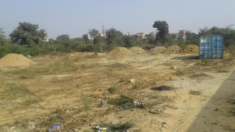 More than 100 trees were cleared from four acres of forest close to the Manav Rachna University along the Gurgaon-Faridabad road.