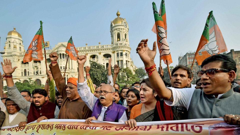 BJP leaders protest against the attack on their party office in Kolkata.