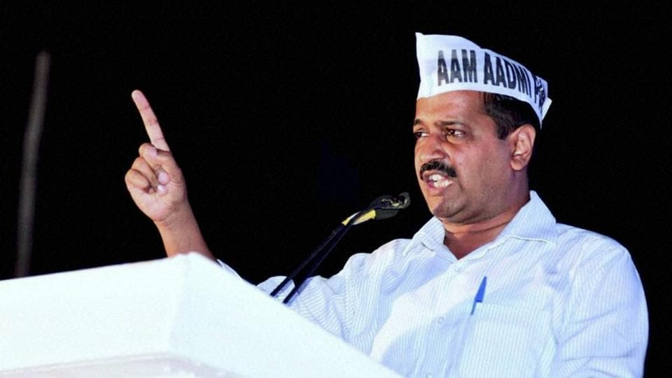 AAP national convener Arvind Kejriwal addresses an election rally in south Goa.