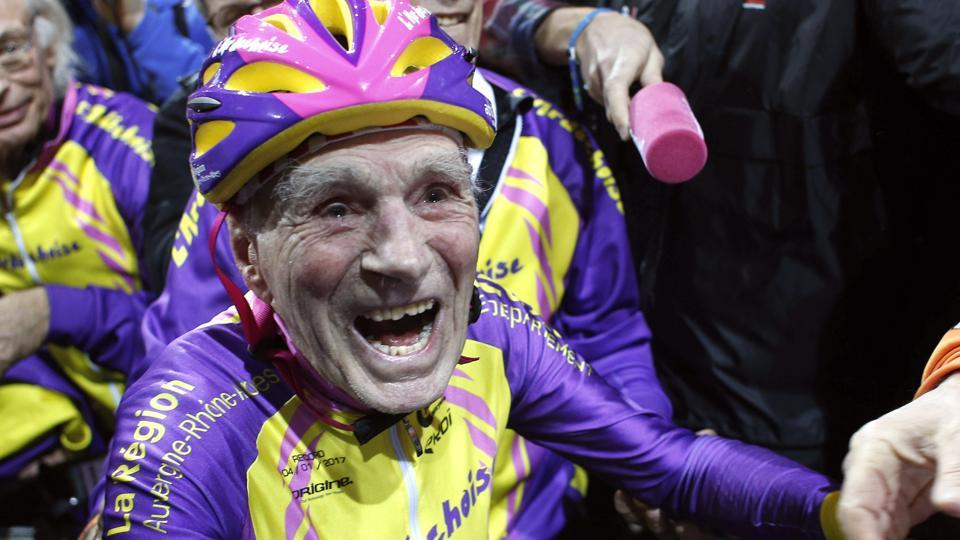 Robert Marchand, 105, reacts after setting a record for distance cycled in one hour, at the velodrome of Saint-Quentin en Yvelines, outside Paris, Wednesday. (Thibault Camus / AP Photo)