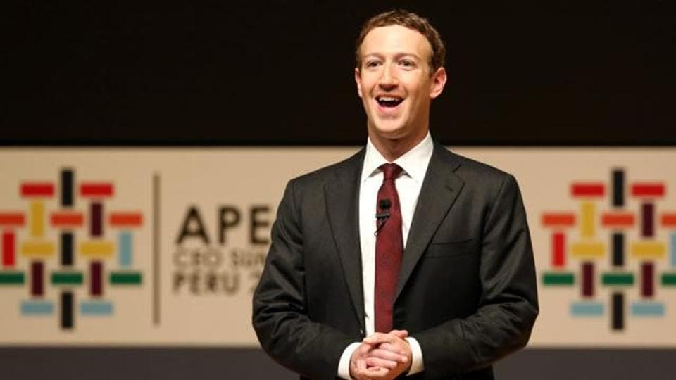 Facebook founder Mark Zuckerberg addresses the audience during a meeting of the APEC (Asia-Pacific Economic Cooperation) Ceo Summit in Lima, Peru, November 19, 2016.