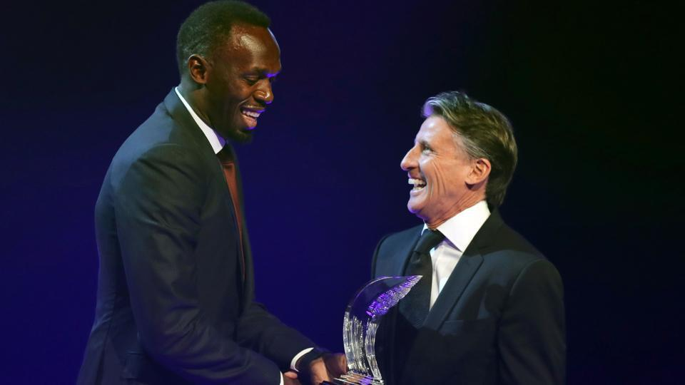 File photo of Jamaican athlete Usain Bolt (left) receiving the 2016 Male World Athlete of the Year award from IAAF President Sebastian Coe during the International Association of Athletics Federations (IAAF) gala in Monaco in December.