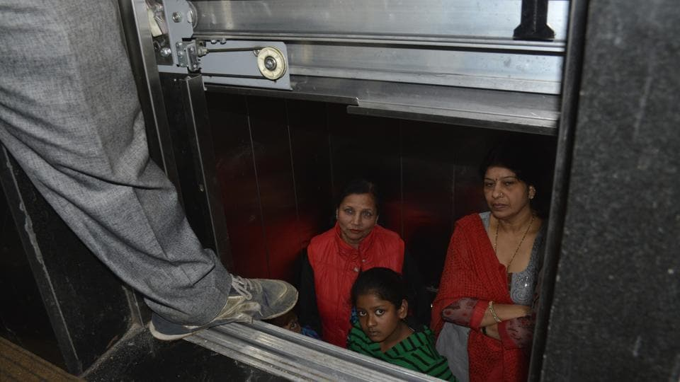 Raj Nagar District Centre,Ghaziabad,trapped in lift