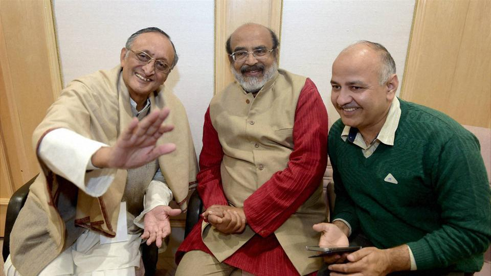 Delhi Finance ministers of West Bengal - Amit Mitra, Kerala - T M Thomas Isaac and Delhi  - Manish Sisodia before the GST Council meeting at Vigyan Bhawan in New Delhi on Tuesday.