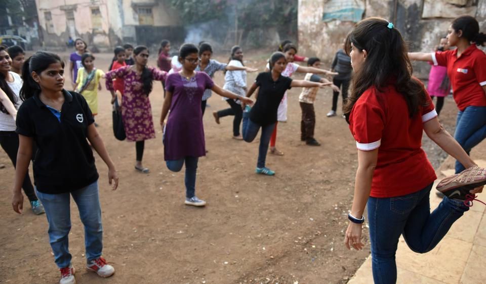 Women from the Akshara Centre during training for the marathon, on Tuesday in Parel.