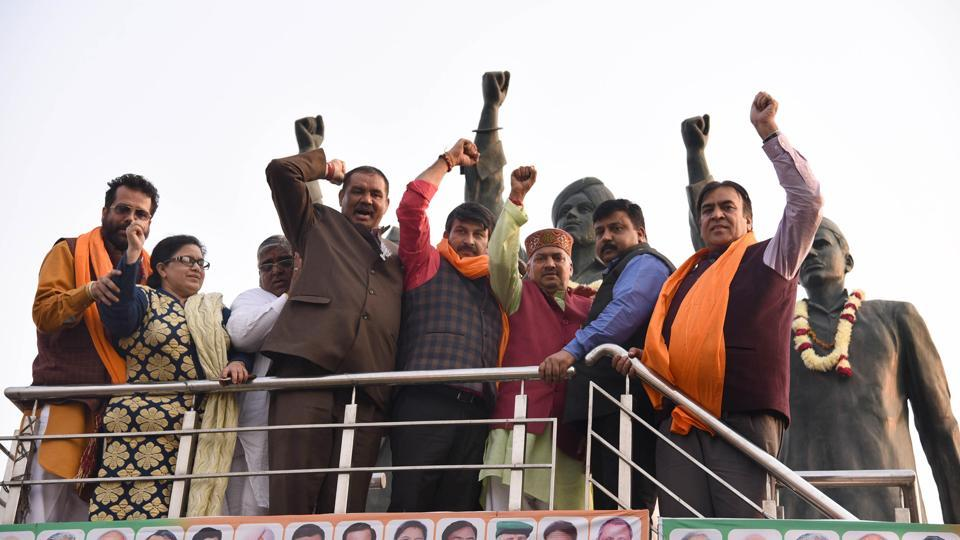 BJP leaders during their rally in Ludhiana on Wednesday.