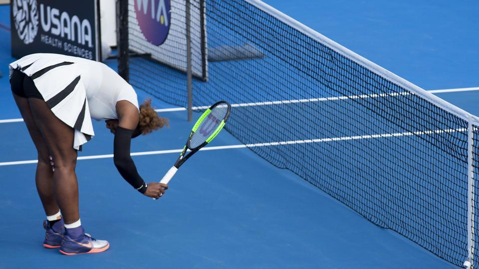 Top-seed Serena Williams of the US bangs her racket in frustration during her second round loss to compatriot Madison Brengle at the Auckland Classic tennis tournament on Wednesday.