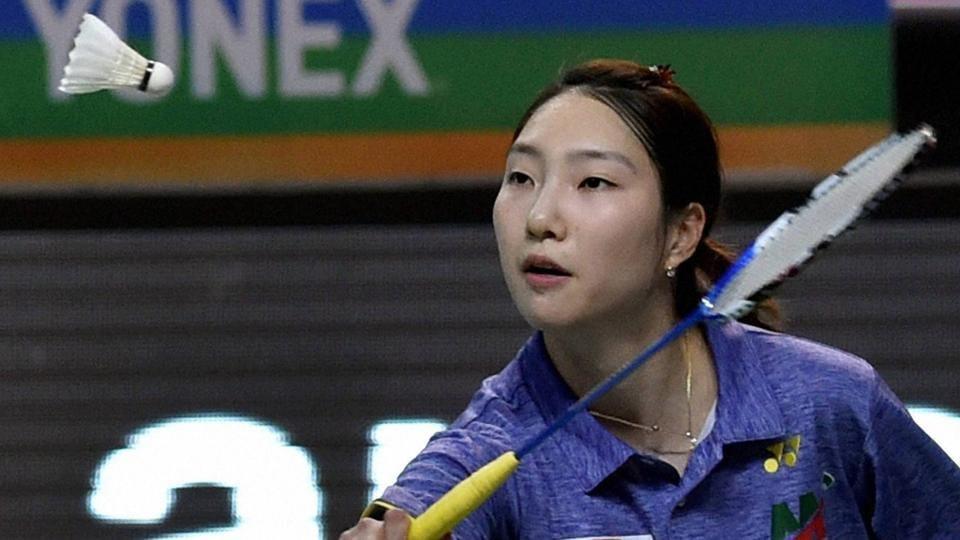 Mumbai Rockets' Ji Hyun Sung returns a shot to Hyderabad Hunters' Carolina Marin during the women single of Premier Badminton League (PBL).