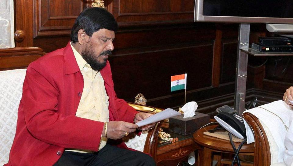Minister of state for social justice & empowerment Ramdas Athawale at a meeting in New Delhi.