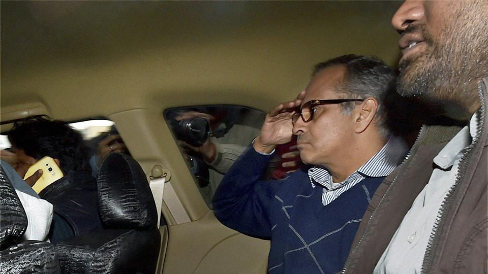 Delhi lawyer Rohit Tandon, arrested in connection the money laundering case, is taken away from Enforcement Directorate (ED) office in New Delhi.