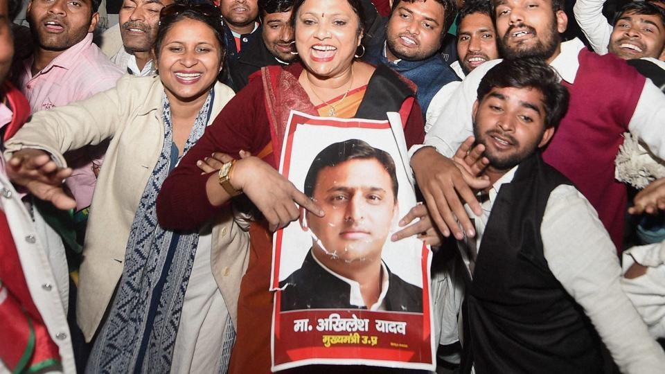 Supporters celebrate appointment of UP chief minister Akhilesh Yadav as national president of Samajwadi Party at Lucknow officeon Sunday evening.