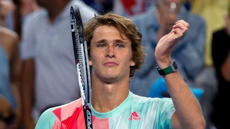 Alexander Zverev of Germany acknowledges spectators after defeating Roger Federer of Switzerland in Hopman Cup.