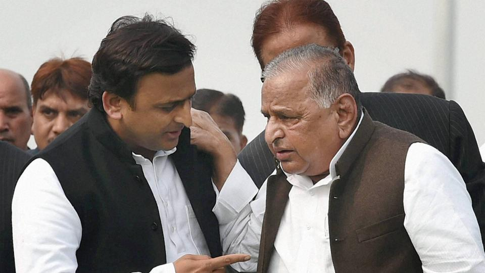 Uttar Pradesh chief minister Akhilesh Yadav with father Mulayam Singh Yadav. It is a make or break election for the duo, who are currently locked in a bitter battle over Samajwadi Party.