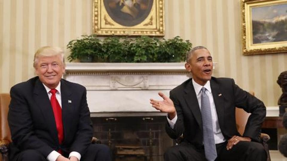FILE - In this Thursday, Nov. 10, 2016, file photo, President Barack Obama meets with President-elect Donald Trump in the Oval Office of the White House in Washington.