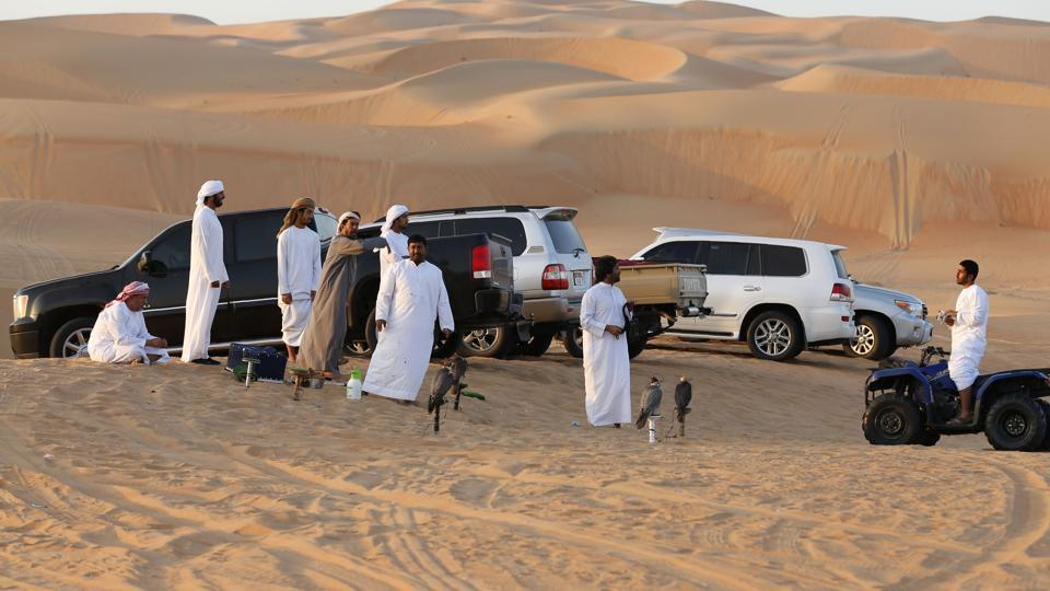 Emirati falcon trainers gather in the Liwa desert.  Visitors and participants attending the festival and races are provided with all facilities and services to make camping and accommodations in the Moreeb Dune a unique and extraordinary experience by the organisers. (Karim Sahib/AFP)