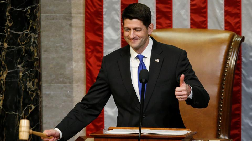 U.S. House Speaker Paul Ryan (R-WI) brings down the gavel after swearing-in the members of the House of Representatives on the first day of the new session of Congress at the U.S. Capitol in Washington.