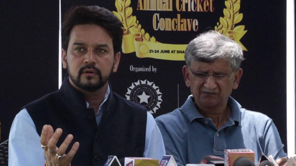 Ousted BCCI president Anurag Thakur and secretary Ajay Shirke.