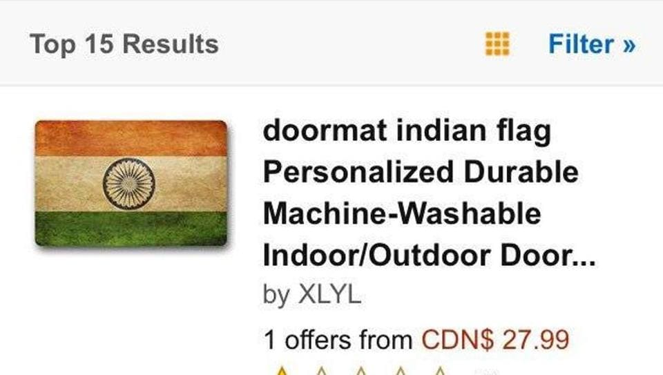IScreen grab of the listing for Indian-flag themed doormats on Amazon's Canadian site.
