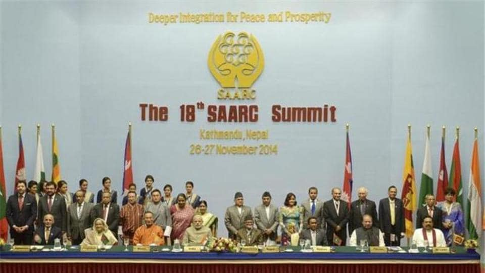 File photo of leaders of Saarc states at a summit in Kathmandu in November 2014.