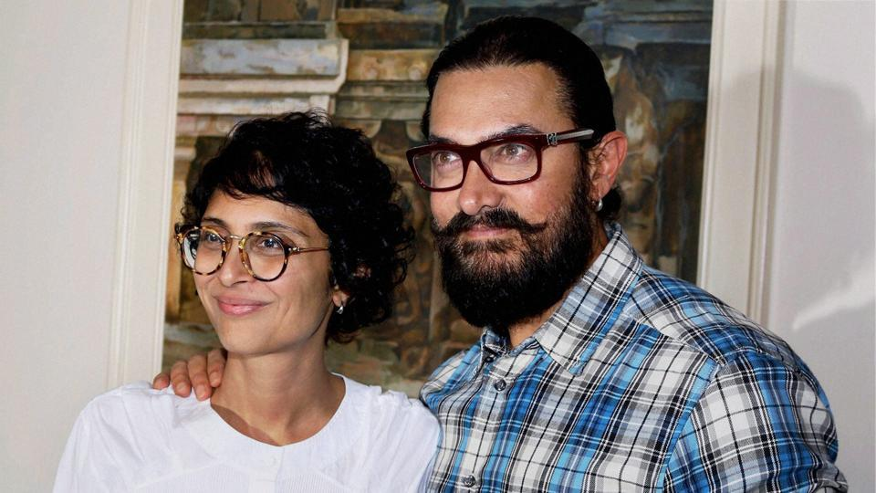 Aamir Khan and his wife Kiran Rao during the launch of Toofan Ala.