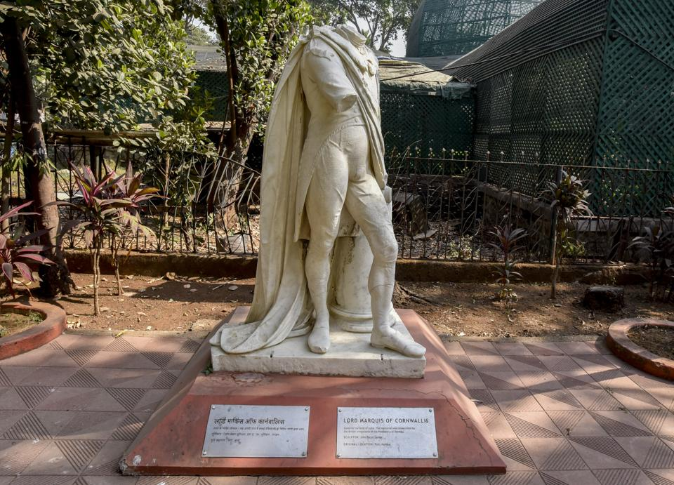 This statue of Elphinstone Charles, the first Marquis of Cornwallis and two-time Governor General of India, once stood at the Elphinstone Circle in south Mumbai. It was transferred to the grounds of the Bhau Daji Lad museum in 1965.  (Kunal Patil / HT Photos; Text by Dipanjan Sinha)