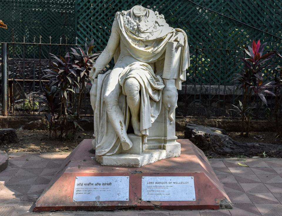 "When the walls of the original Fort were demolished, this statue of Richard Colley, first Marquis of Wellesley and former governor general of India, was moved to Elphinstone Circle. From there it was moved to the Town Hall (now the Asiatic Library) and finally to the grounds of the museum in 1965. ""We maintain the statues in the way they were brought here. The idea of restoring them was floated a few years ago but the British Council decided against it as they consider the statues in their present state to be representative of a time in history. I agree with that stand. In fact, the museum which was established during the British colonial era seems a perfect place for these damaged statues,"" says Tasneem Zakaria Mehta, director of the Bhau Daji Lad museum. (Kunal Patil / HT photo)"