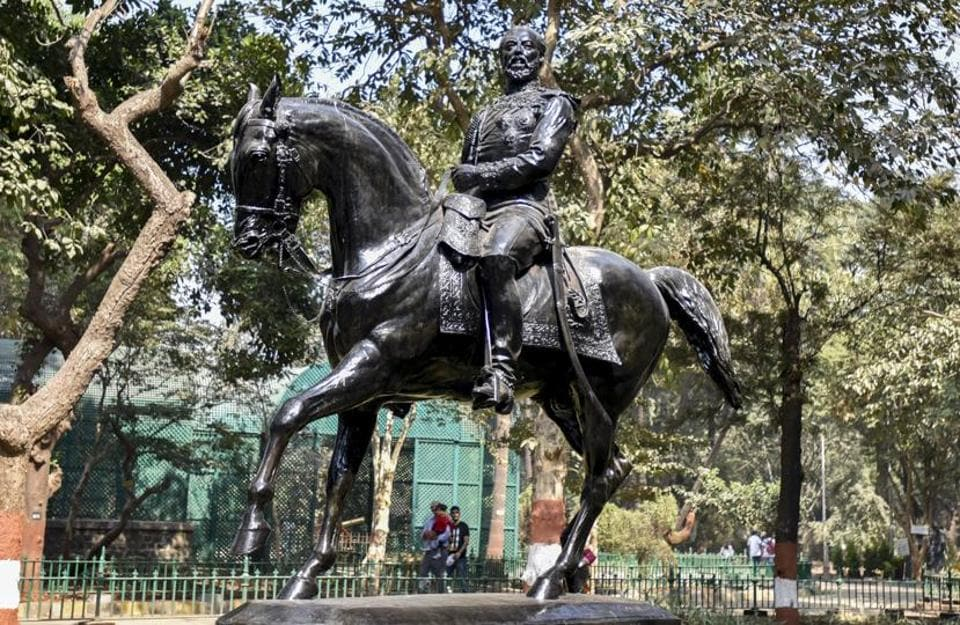 There's a secret graveyard behind Mumbai's Bhau Daji Lad museum. It's where colonial relics have been buried in full view, for over 50 years. This is a bronze statue of Albert Edward, then Prince of Wales and future King Edward VII of Britain, atop a horse. Sculpted by Joseph Edgar Boehm, it stands 16.7-ft tall and was removed from the junction of Esplanade Road and Rampart Row in the Kala Ghoda art district, in 1965. (Kunal Patil / HT photo)