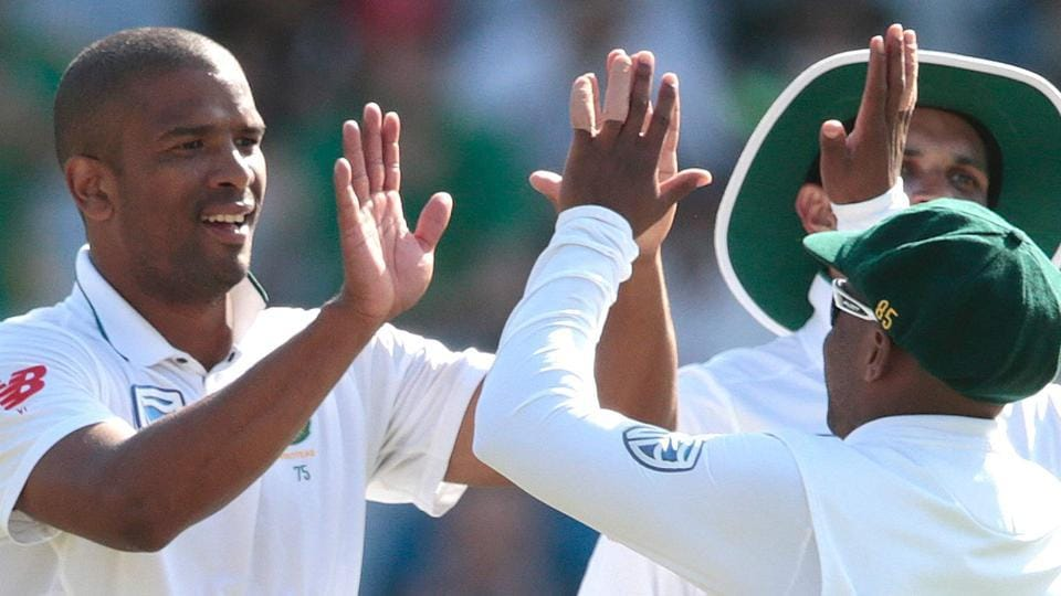South Africa bowler Vernon Philander (left) celebrates after dismissing a Sri Lanka batsman during the second Test at Newlands Cricket Stadium in Cape Town