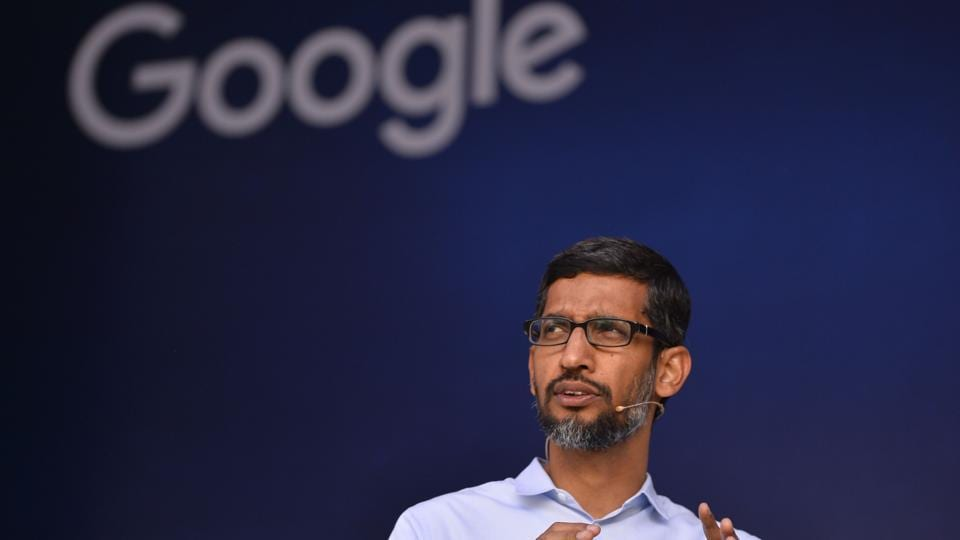Google Inc CEO Sundar Pichai gestures as he addresses students during a forum at the Indian Institute of Technology (IIT) Kharagpur, around 120km west of Kolkata.